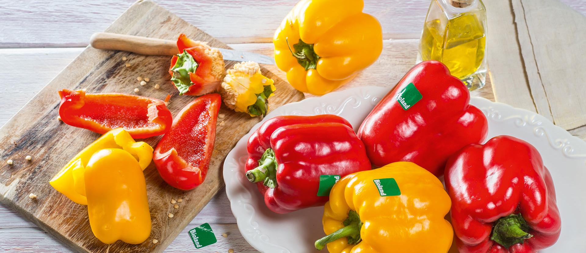 Bioland Paprika rot und gelb
