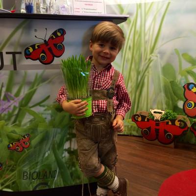 kleiner Junge in Tracht mit einer Pflanze Gerstengras in der Hand