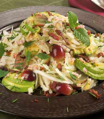 Weisskohlsalat Avocado Bacon Trauben