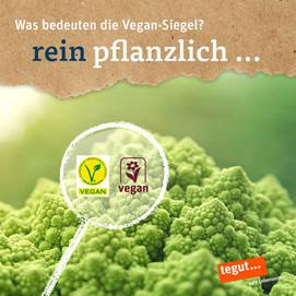 eine Romaneskopflanze mit vegane-Label
