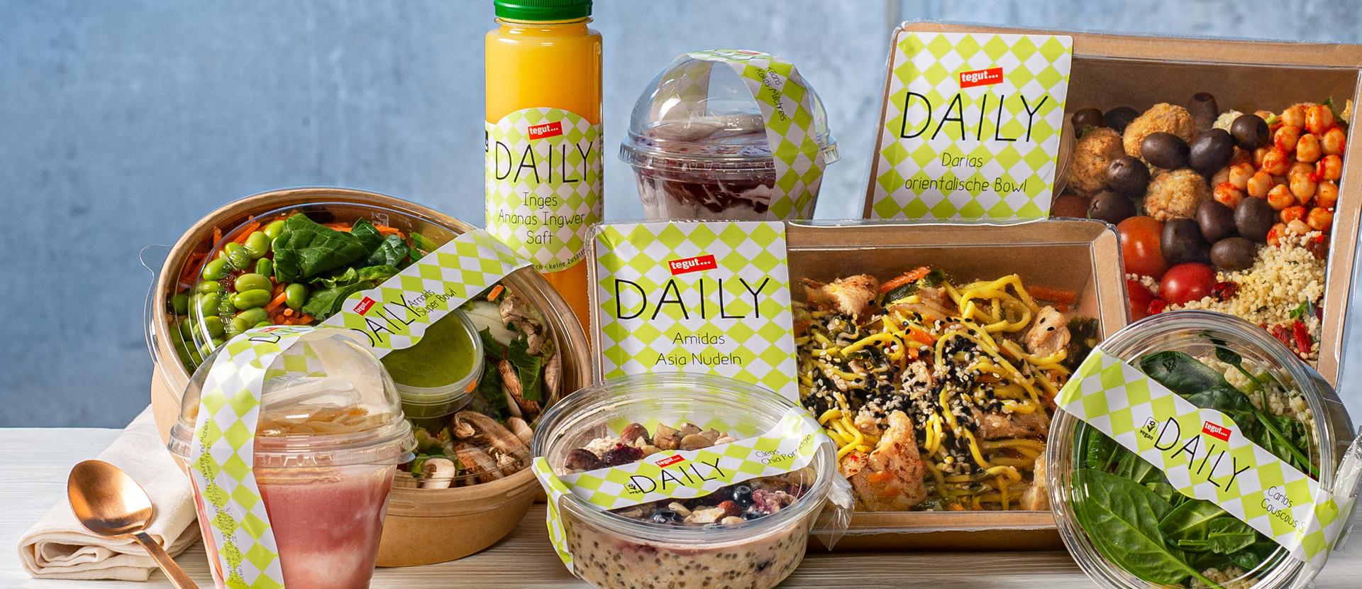 verschiedene tegut Daily Produkte nebeneinander