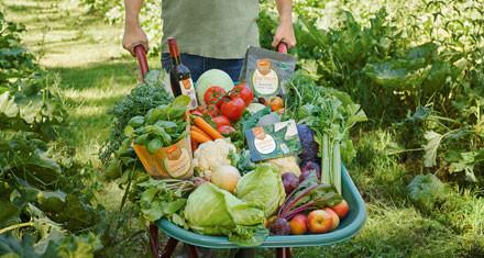 Bio Vielfalt Mann mit Schubkarre mit Bio Produkten