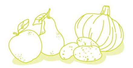gezeichnetes Obst und Gemuese