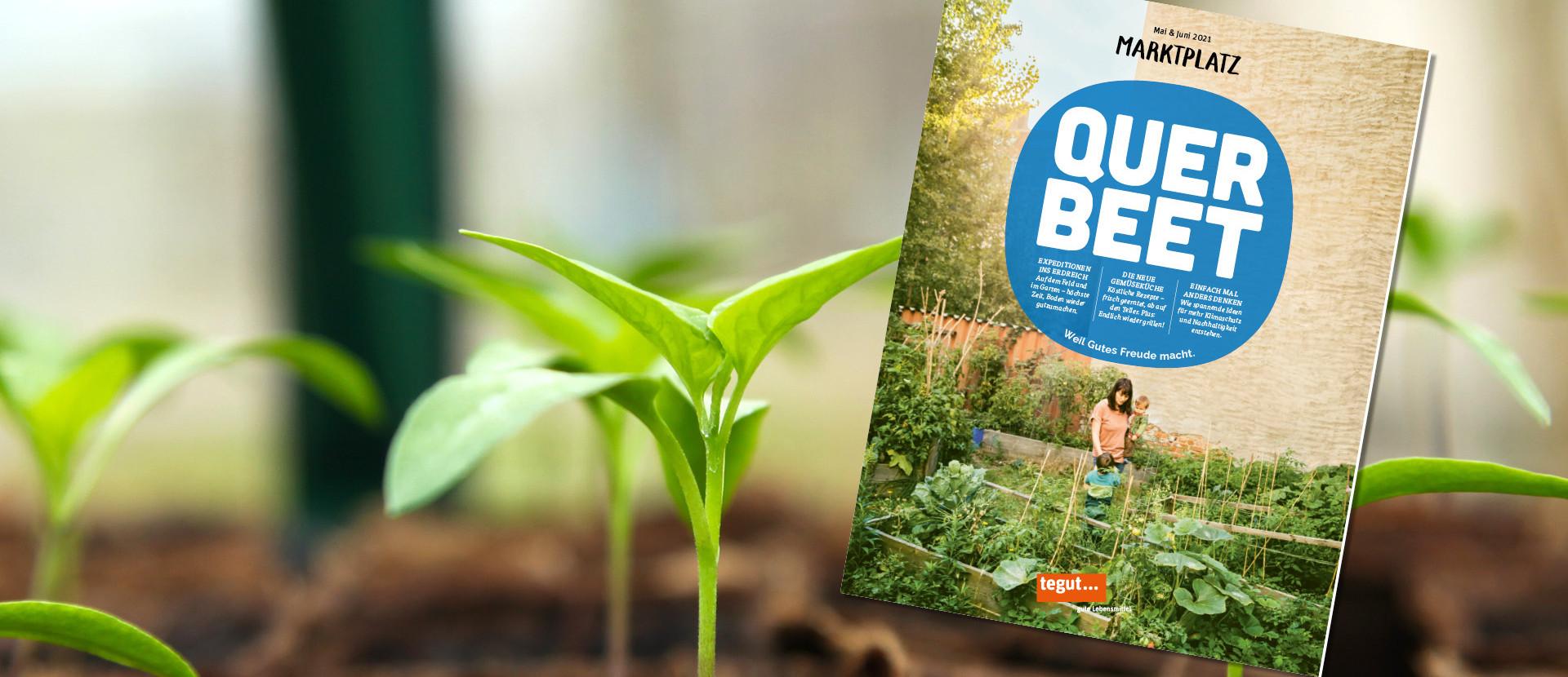 Titel des tegut Kundenmagazin Mai Juni 2021 zwischen Pflanzen