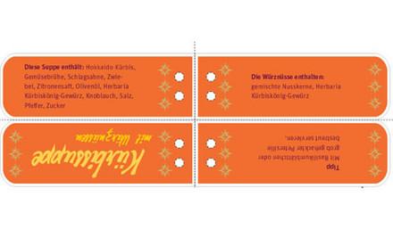 Geschenkanhänger Etikette Kürbissuppe mit Würznüssen
