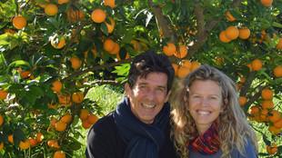 Eine Frau und ein Mann vor einem Orangenbaum