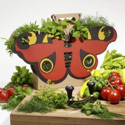 Schmetterlingstasche mit Kräutern und Gemüse auf einem Tisch