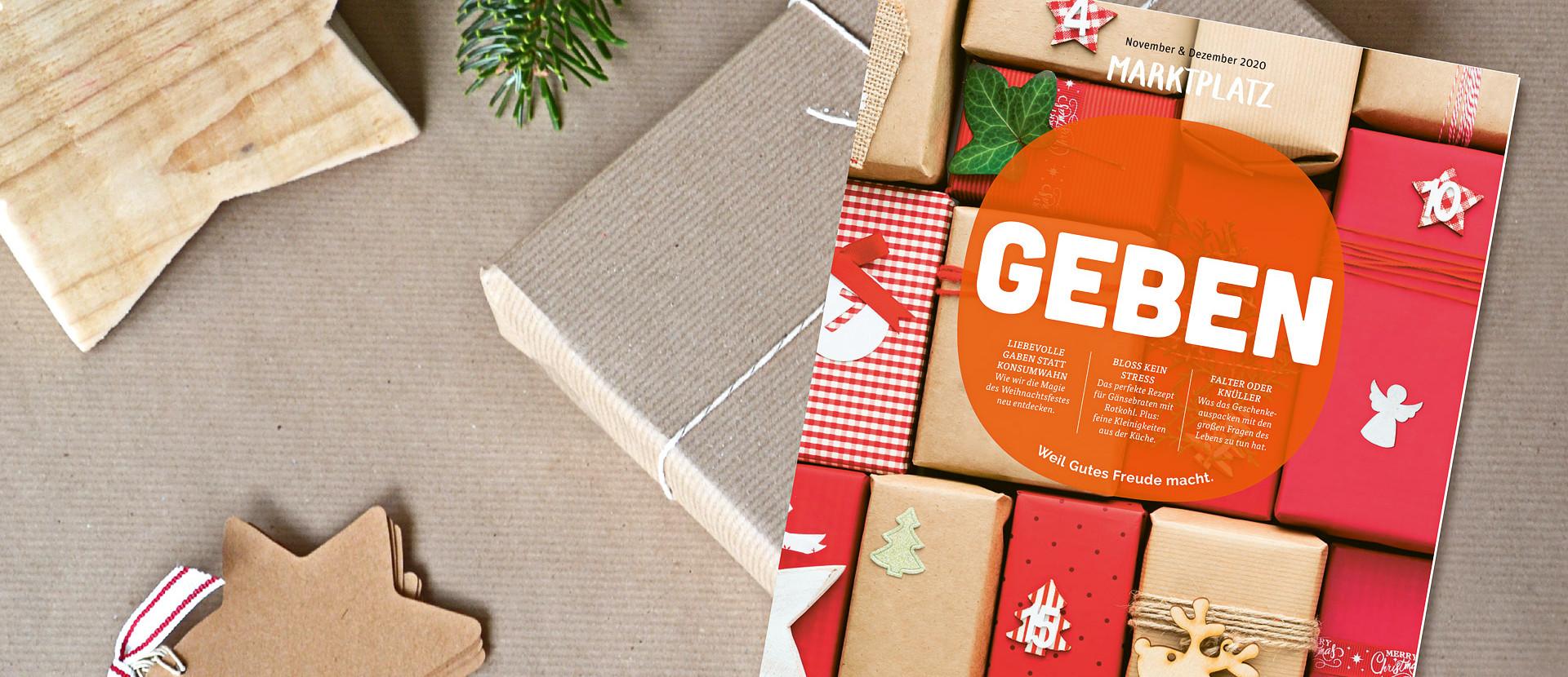 Die November/ Dezember 2020 Ausgabe des Marktplatzes liegt auf einem Geschenkt