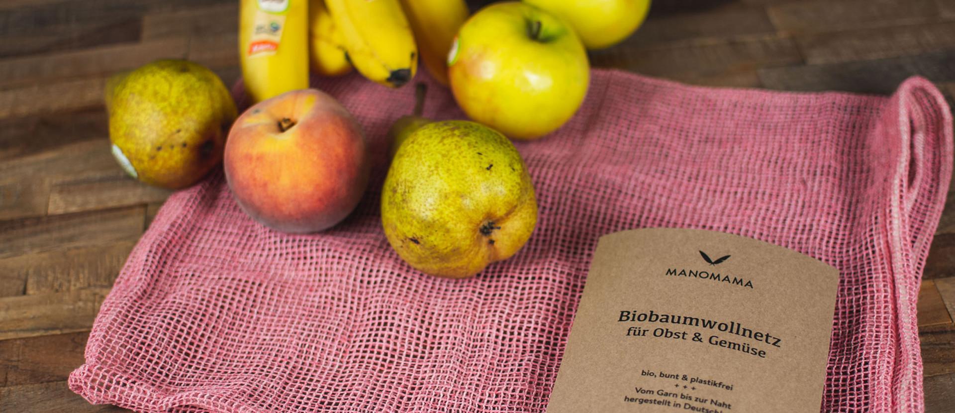 Bio-Baumwollnetz mit Äpfeln und Birnen