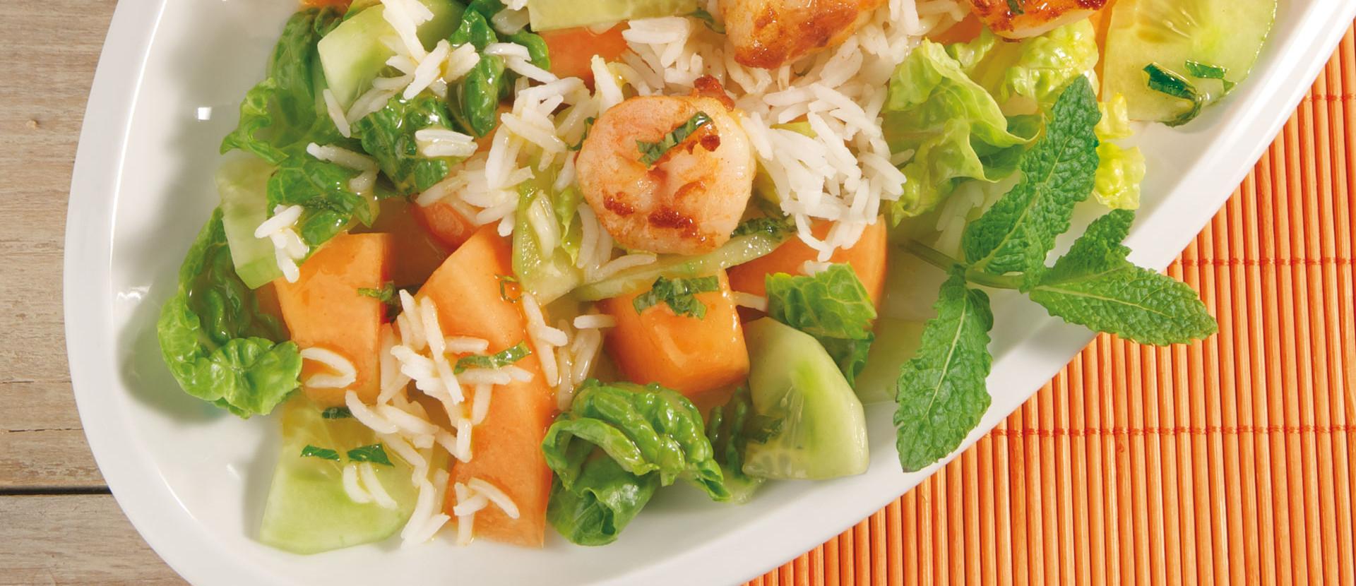 Melonen-Reis-Salat