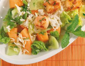 Melonen-Reis-Salat mit Garnelen