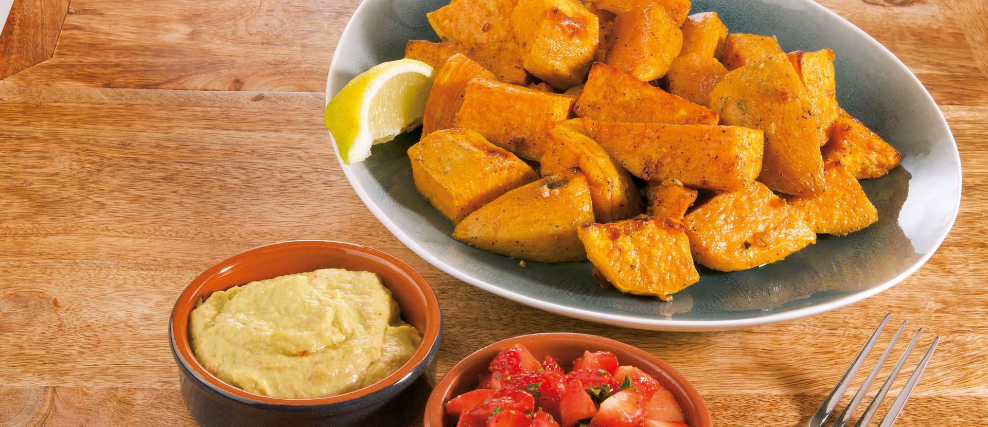 Gegrillte Suesskartoffeln mit Dips