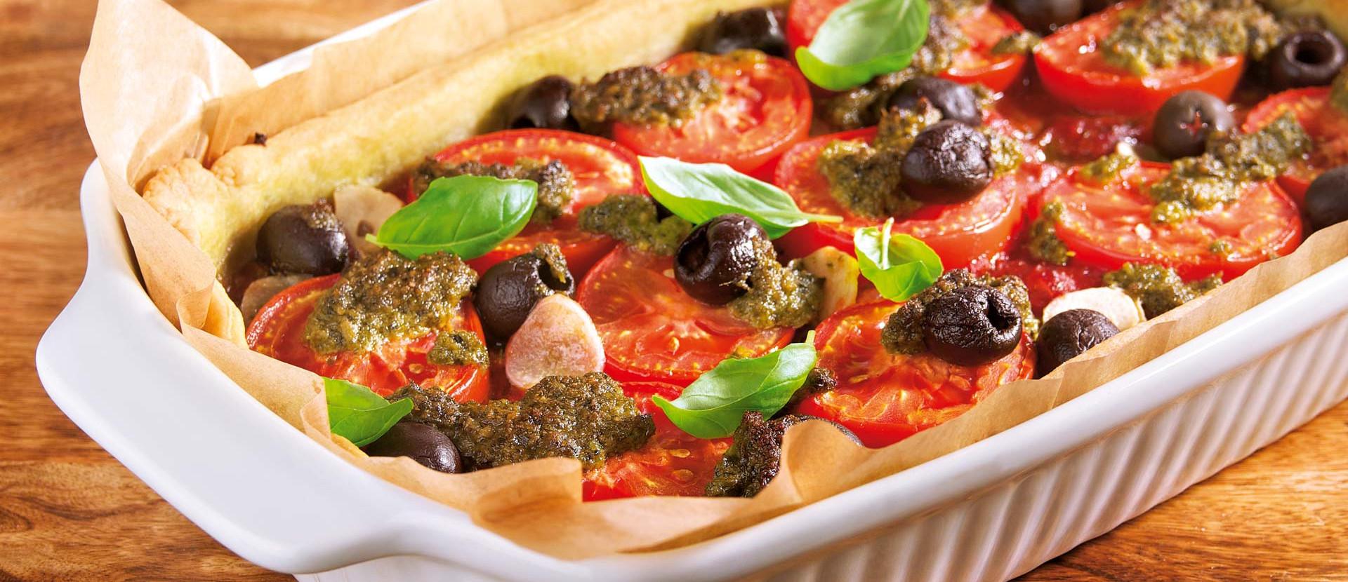 Tomatentarte Pesto Oliven Basilikum