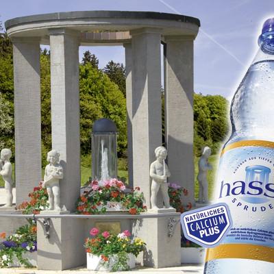 Brunnen und eine hassia Sprudel Flasche