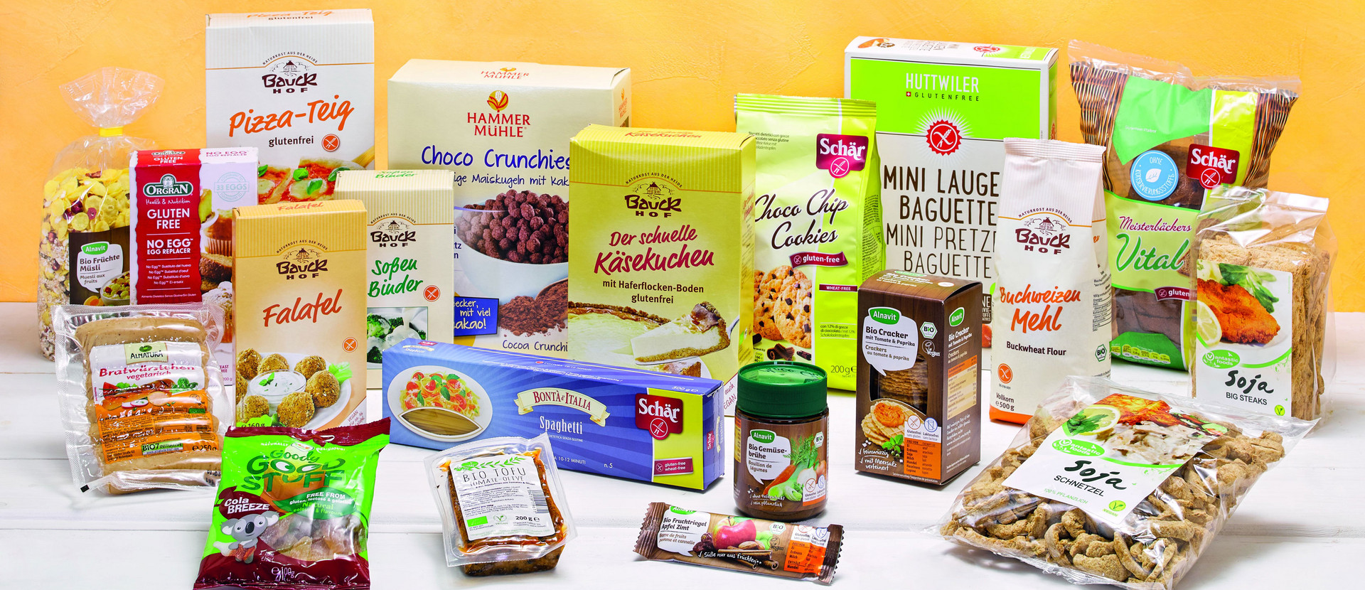 Produkte aus dem glutenfreien Lebensmittelsortiment