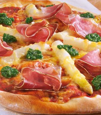 Spargelpizza Baerlauchpesto