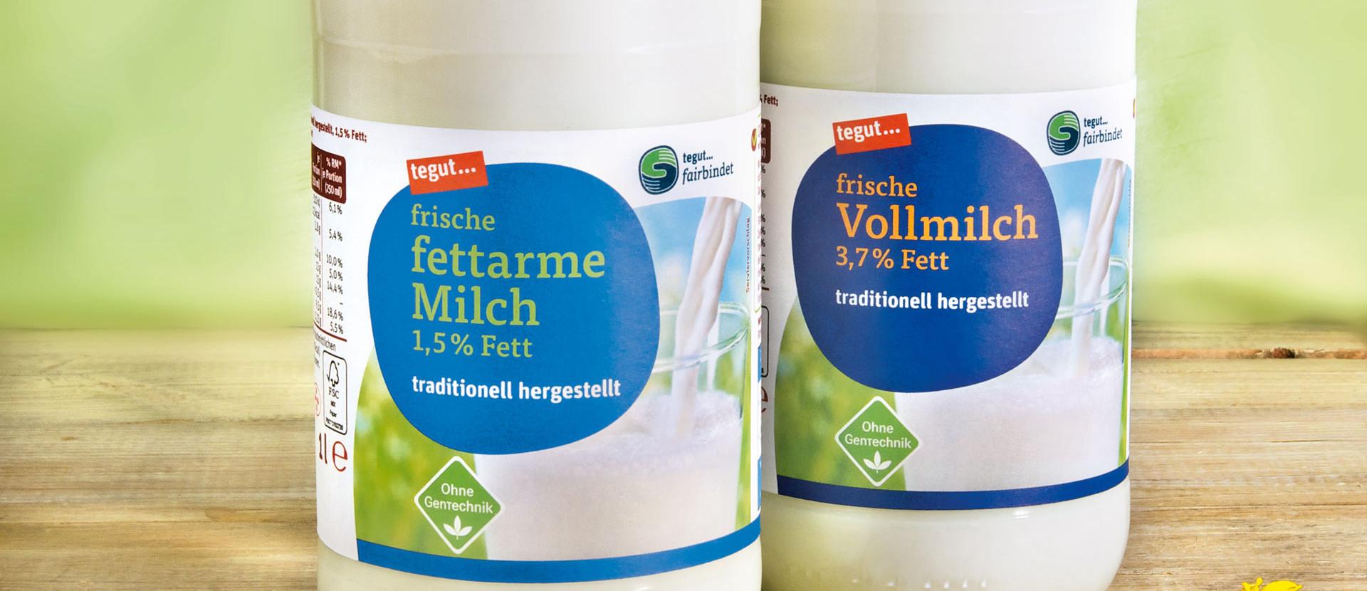 tegut... Frischmilch in Glasflaschen