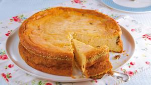 Kaesekuchen ohne Boden mit Rosinen glutenfrei