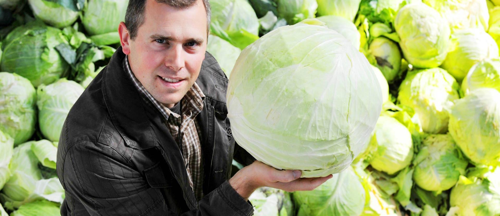 Mann mit einem Kopf Salat in den Händen
