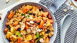 Reispfanne mit Lauch, Möhren und Pastinaken