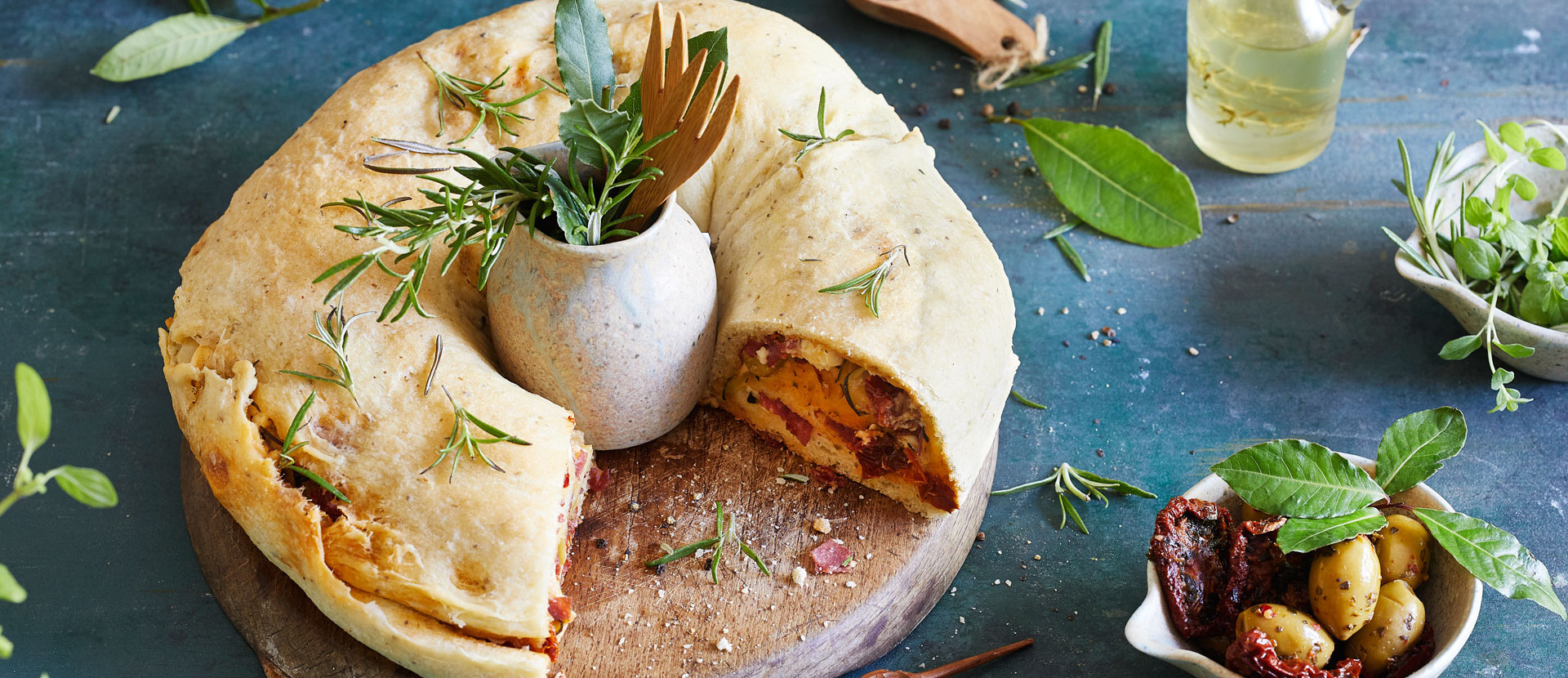 mediterran gefülltes Brot