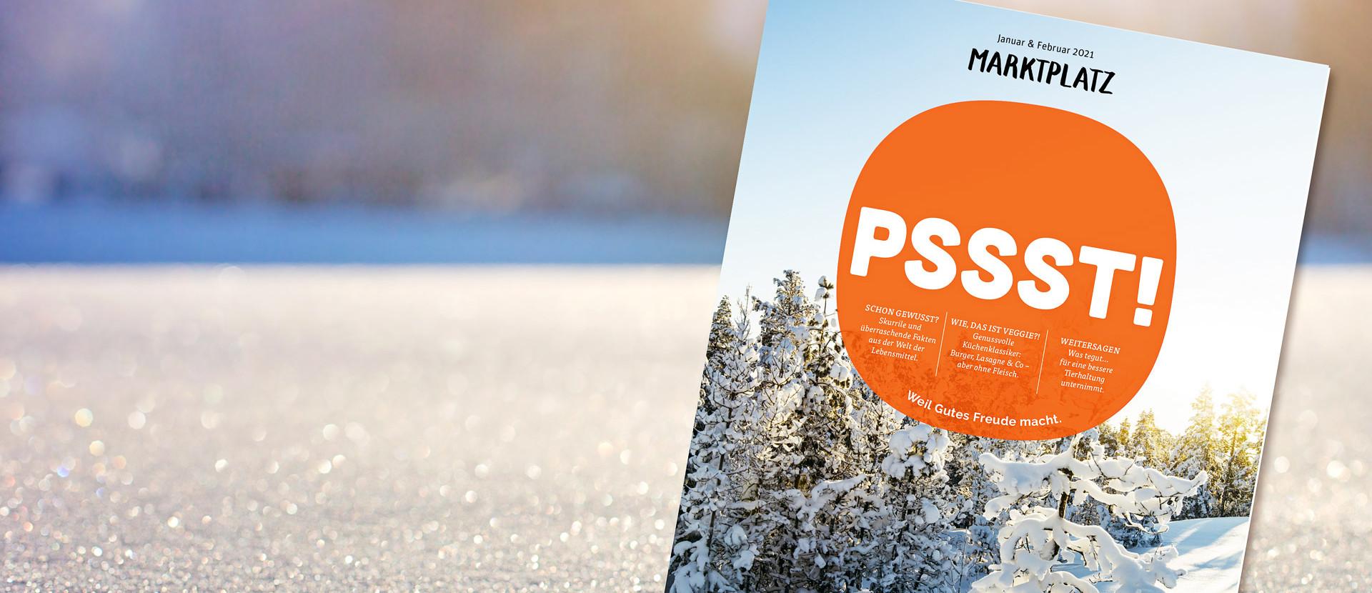 tegut Kundenmagazin Titelseite Januar/Februar im Schnee