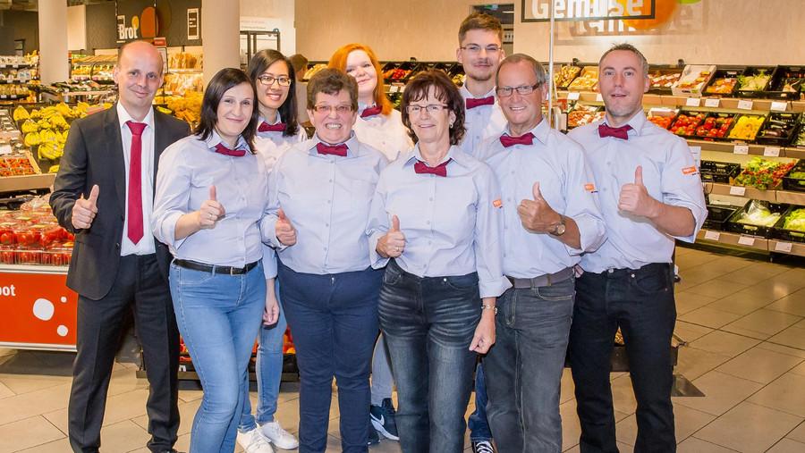 Enrico Zaborsky und sein Team des tegut Marktes Kassel City Center