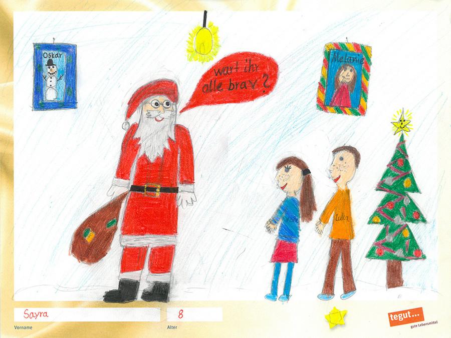 gezeichnete Bild: Nikolaus mit Kindern