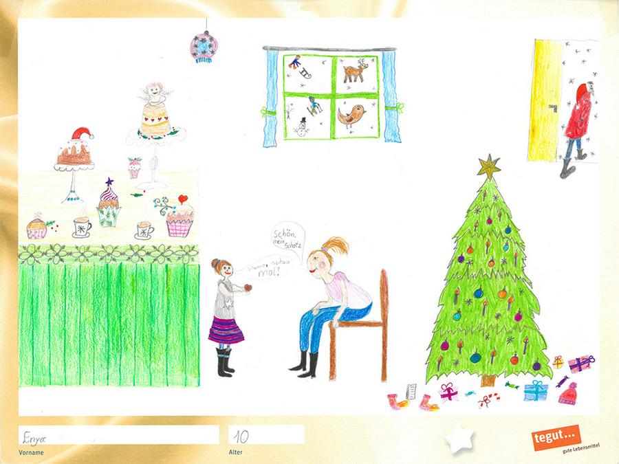 gezeichnete Bild: Familie um einen Weihnachtsbaum