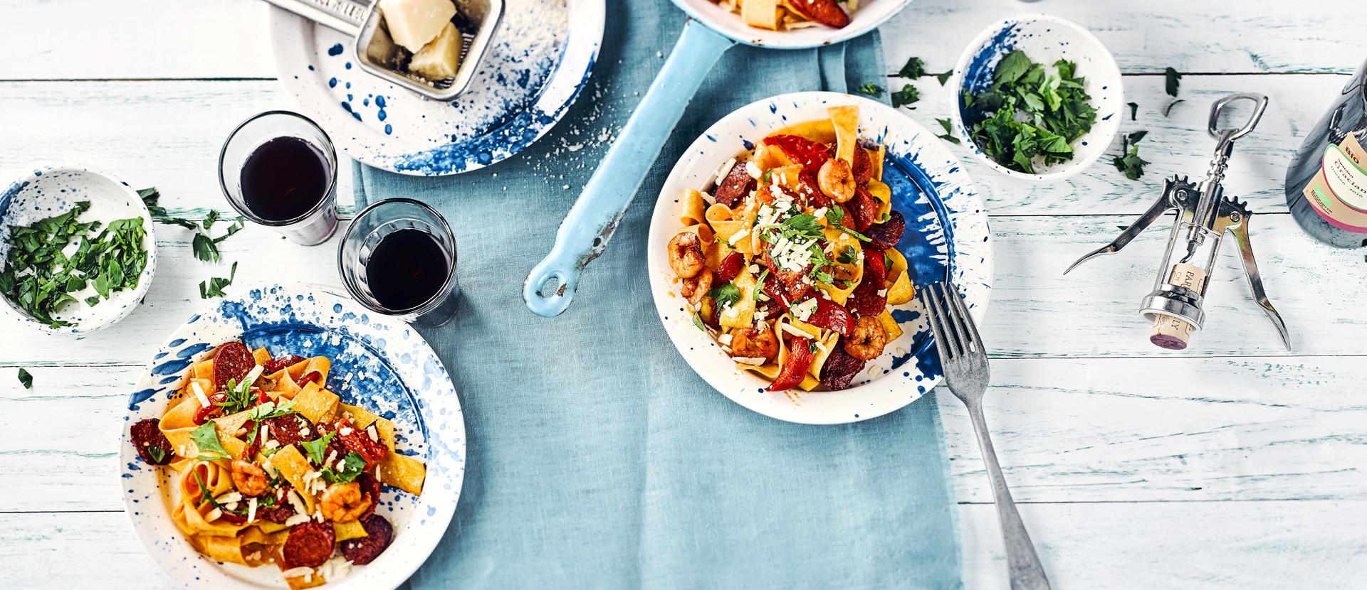 Pappardelle Riesengarnelen Paprika Chorizo