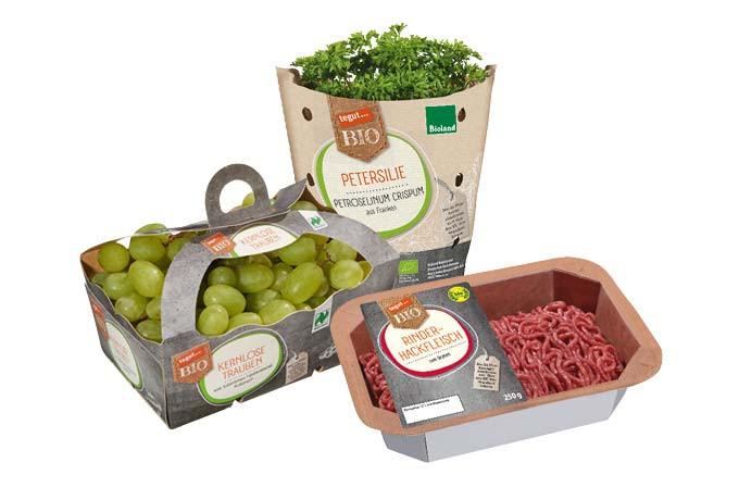 Bio-Lebensmittel von tegut… (Trauben, Kräuter, Hackfleisch)