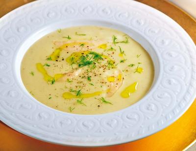 Fenchel Birnen Cremesuppe mit Oliven