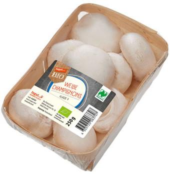 250 g Packung weiße Bio Champignons