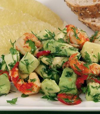Flusskrebssalat mit Avocado und Pomelo