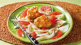 Fenchel Grapefruitsalat mit Kaese in Mandelkruste