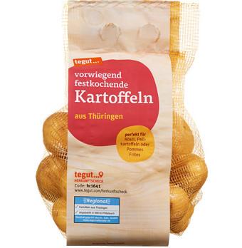 Ein Netz vorwiegend festkochender Kartoffeln