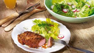 BBQ Nackensteaks mit Fruehlingssalat