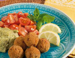 Minz-Hummus zu Tofubällchen
