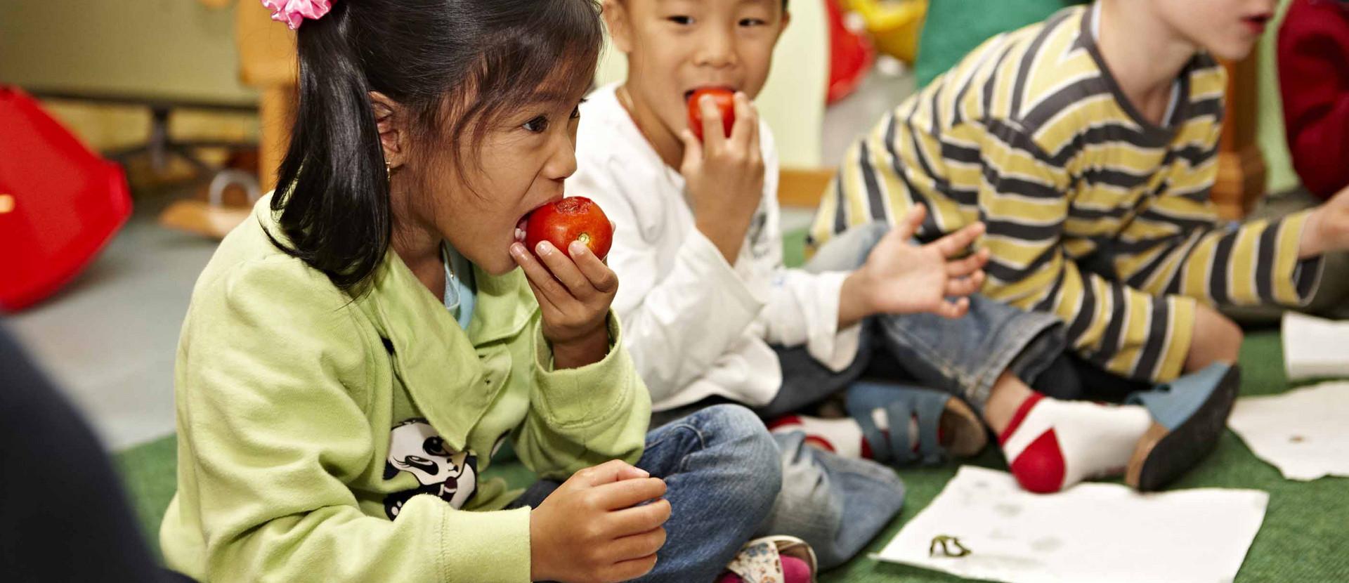 Kinder sitzen am Boden und kosten Tomaten