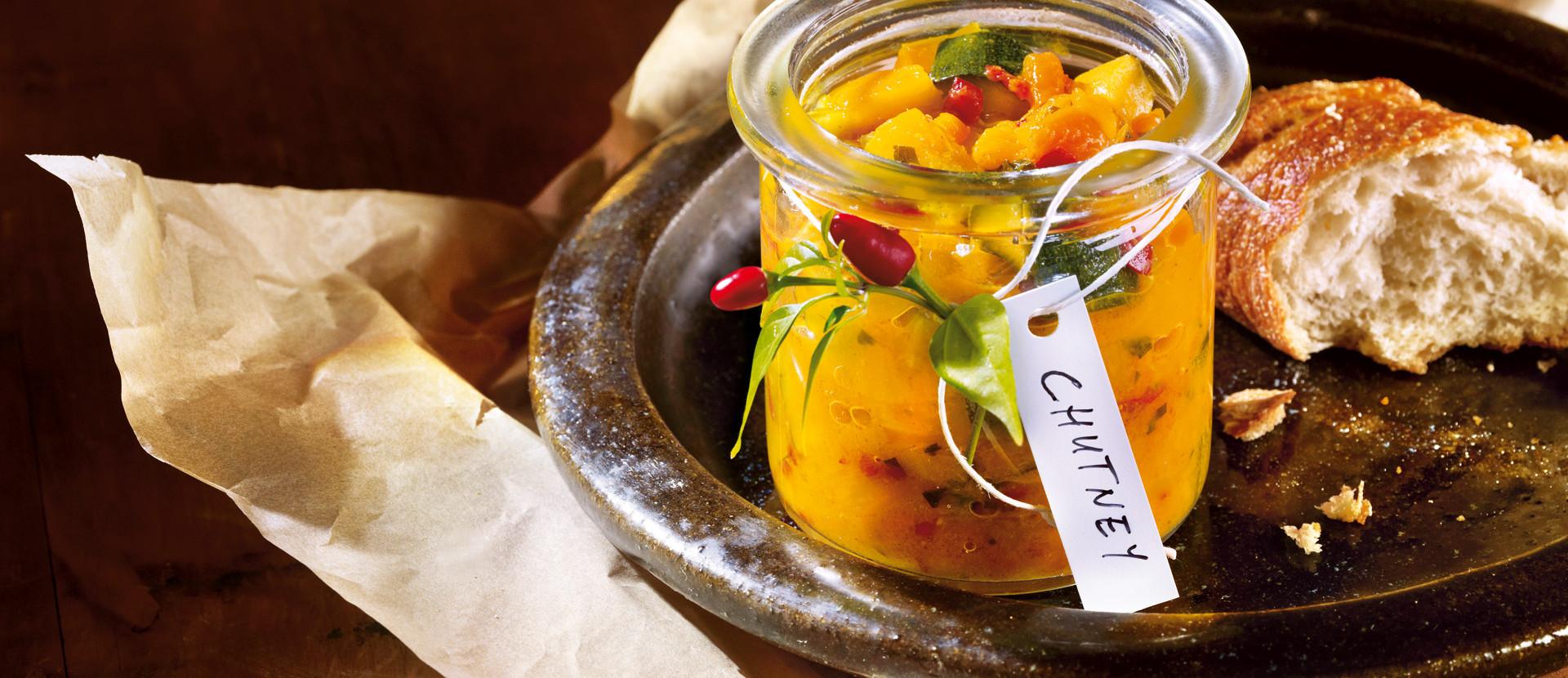 Pfirsich Mango Zucchini Chutney