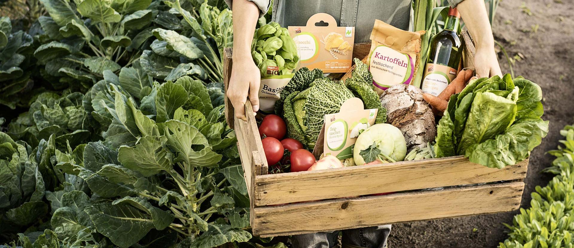 Bauer mit Kiste mit Bio-Produkten auf einem Feld