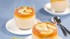 Fruchtiger Reispudding mit Banane und Sandornsauce