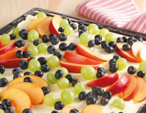 Vanille-Quarkschnitten mit Sommerfrüchten