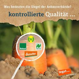 Karotten, die aus der Erde spriesem und eine Lupe mit den Logos von demeter, naturland, Bioland und Biokreis