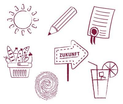 verschiedene Grafiken: Sonne, Stift, Wegweiser, Einkaufskorb, Drinkglat und Fingerabdruck