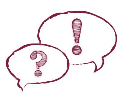 zwei Sprechblasen: eine mit Fragezeichen, eine mit Ausrufezeichen