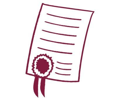 gezeichnete Urkunde mit Siegel