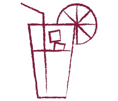 gezeichnetes Glas mit Eiswürfeln, Strohhalm und Zitrone