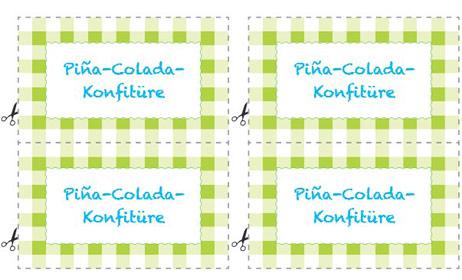 Etikett Pina Colada Konfitüre