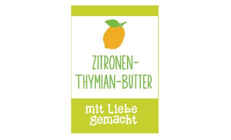 Etikett für Zitronen Thymian Butter